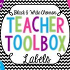 Teacher toolboxes are the perfect tool to organize your desk and your classroom!  The background for these labels are in a black and white chevron,...