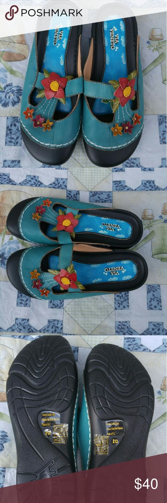 Via Veneto Mules Clog Slip On Shoes Via Veneto Women's Sz 10 Mules Clogs Slip On Blue Flowered Shoes. New without tag/box. Please see photos for details. Thank you for looking. Via Veneto  Shoes Mules & Clogs