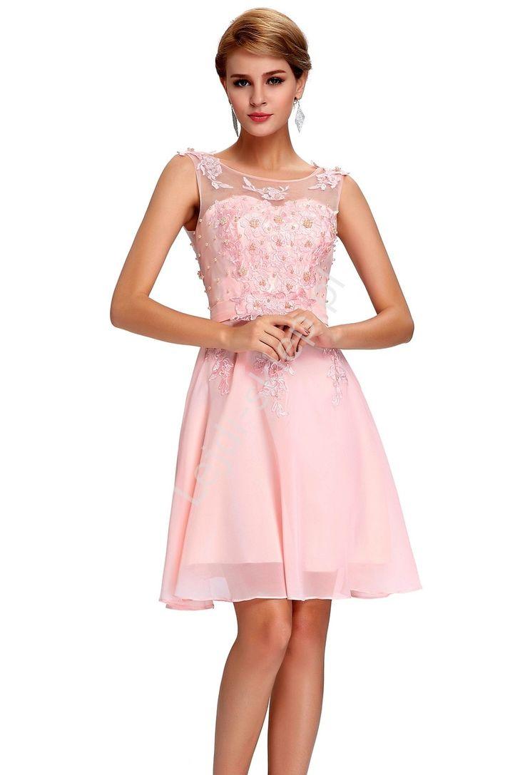 Sukienka na wesele, komunie, połowinki, poprawiny z perłami, jasny róż
