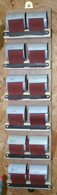[The completed sandpaper dispenser - click for larger view]
