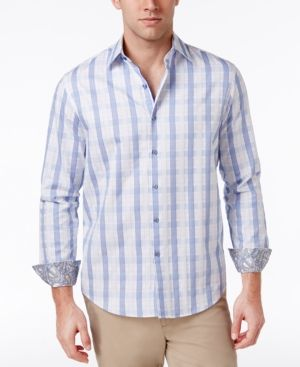 Tasso Elba Men's Cotton Shirt, Only at Macy's - Blue