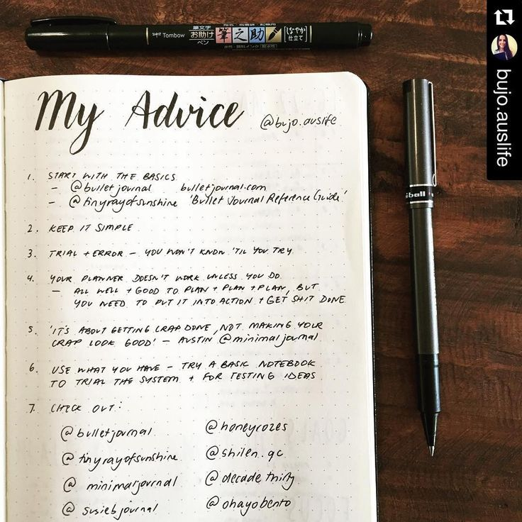 #Repost @bujo.auslife ・・・ #planwithmechallenge 5.17  1. Start with the basics - @bulletjournal @tinyrayofsunshine's 'Bullet Journal Reference Guide'  2. Keep it simple  3. Trial + Error - You won't know 'til you try 4. Your planner doesn't work unless you do - it's all well & good to plan & plan & plan, but you need to put it into action and get shit done! 5. 'It's about getting crap done, not making your crap look good' - Austin @minimal journal 6. Use what you have - Try a basic notebook…