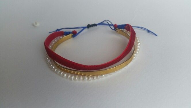Handmade bronze  bracelet with mother of pearls  stones and red velvet. Ask  more on  Despina Kornelaki  Facebook account .