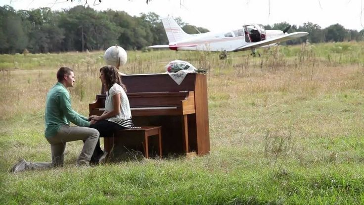 Best Marriage Proposal - Micah lands a plane in a grass field, walks Rachel over to a piano sitting out in the field, plays and sings a personal version of the Scientist by Coldplay (the soundtrack of the video), and then proposed to Rachel.