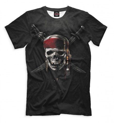 """Пираты Карибского моря. Весёлый Роджер. Мужская футболка с черепом, пиратский принт по фильму """"Пираты Карибского моря"""". Крутой принт! :)"""