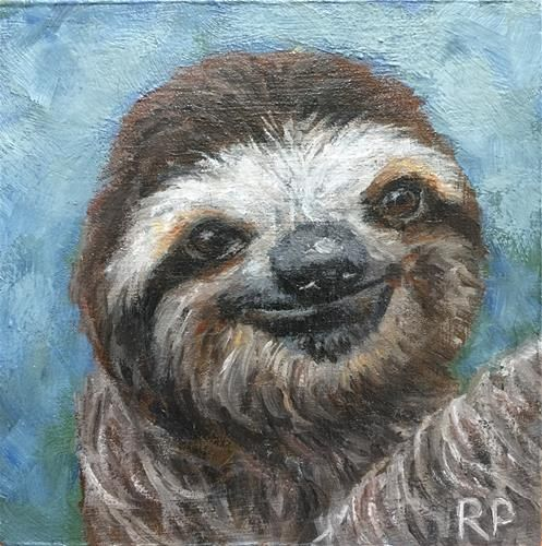 "Daily Paintworks - ""Sloth study 2"" - Original Fine Art for Sale - © Rhea Groepper Pettit"
