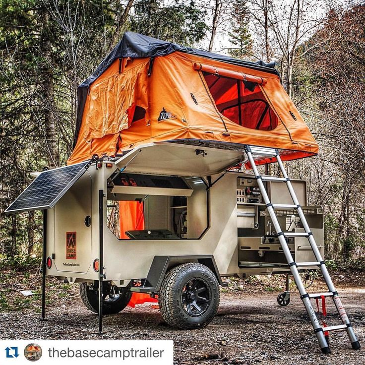 Sweet trailer setup by Base Camp Trailers.  Instagram @thebasecamptrailer   Solar, water filter, hot water, shower, slide out kitchen and prep area, awning, tepui roof top tent, led lighting, wood box, pull down safe box--so many available options.