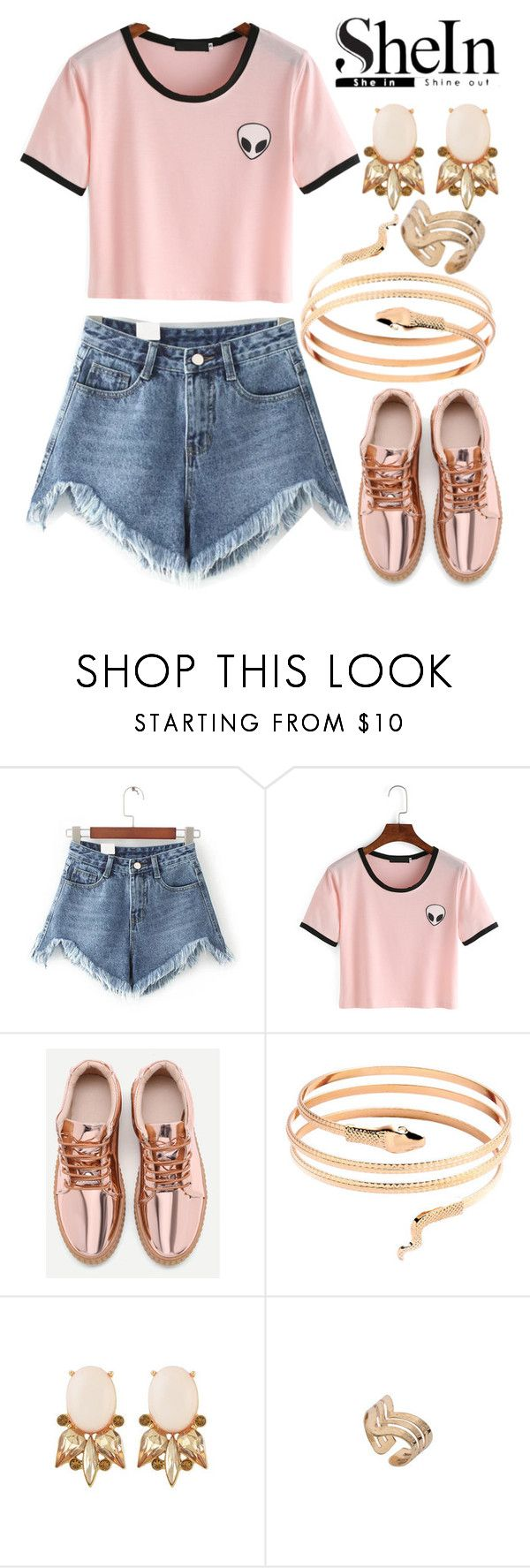 """SheIn"" by deedee-pekarik ❤ liked on Polyvore featuring shorts, denimshorts and shein"