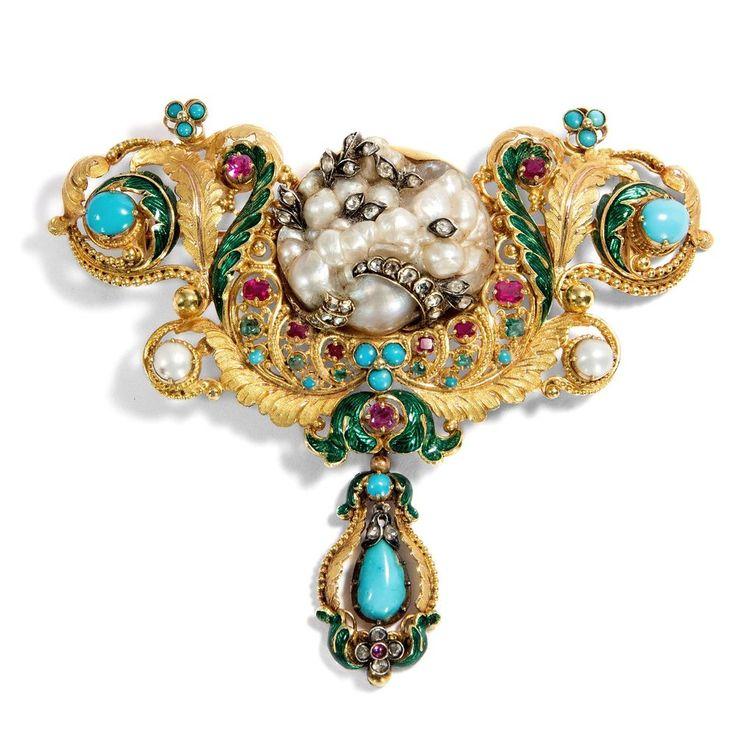Biedermeier Brosche: Große Natur Perle Türkis Rubin & Diamanten in Gold, um 1830