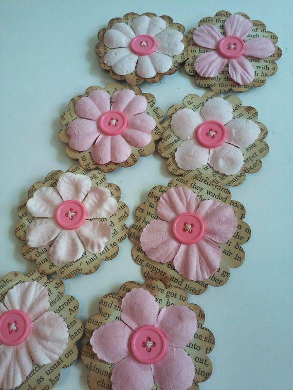 Pink flowers, Paper flowers, Scrapbooking flowers, Paper button embellishments, paper flower embellishments, Vintage book paper flowers