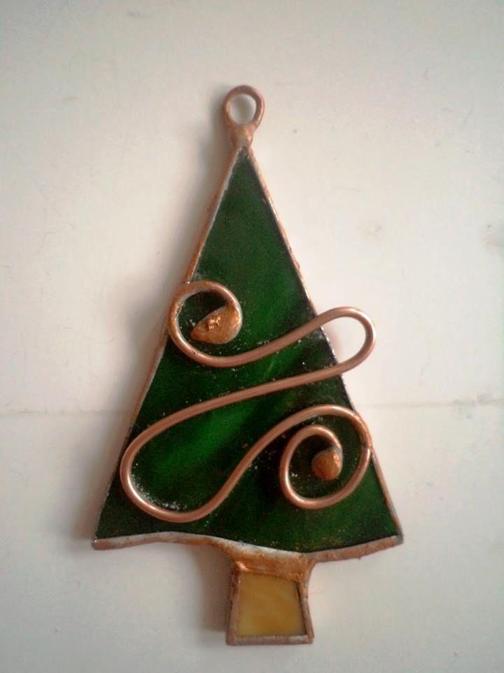 Ornament  bradut , sticla  si cupru
