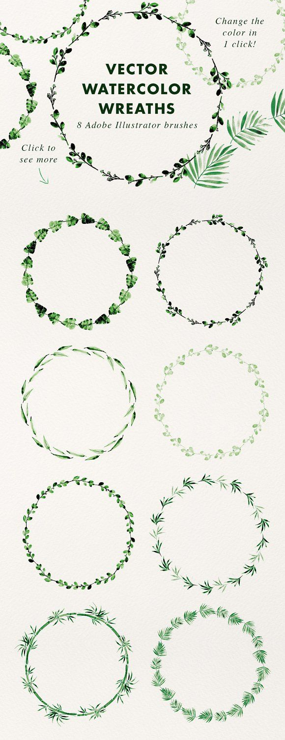 Vector Watercolor Wreaths (brushes)  @creativework247