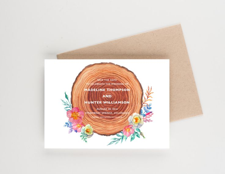 Rustic Wooded Save The Date, Botanical Watercolor, Bridal Shower, Wedding Invitation by seahorsebendpress on Etsy