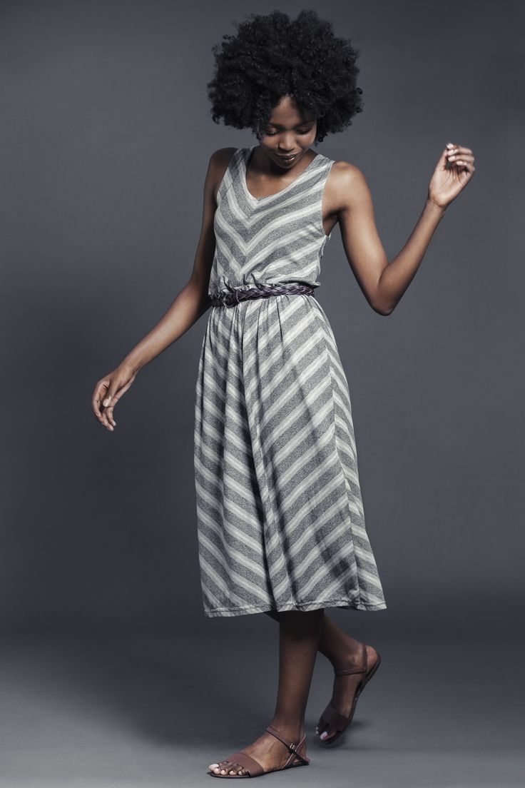 Ladies viscose cotton blend yarn dyed chevron stripe dress with genuine leather belt. For more information visit: https://www.facebook.com/pengellyclothing or https://www.pengelly.co.za