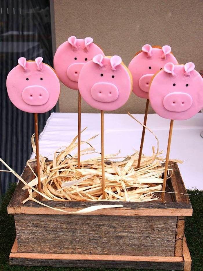 Modern Farm Yard Birthday Party with Lots of Really Cute Ideas via Kara's Party Ideas: Cute Piggies on Sticks