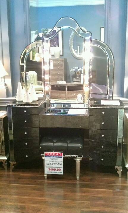 Captivating Hollywood Glam Furniture Croc Embossed, Mirrored, Rhinestones
