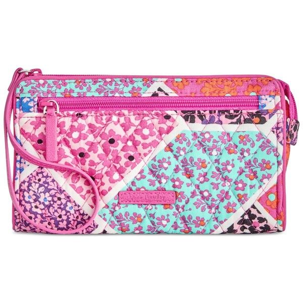 Vera Bradley Rfid Front-Zip Wristlet ($38) ❤ liked on Polyvore featuring bags, handbags, clutches, modern medley, wristlet handbags, vera bradley wristlet, front zip wristlet, vera bradley purses and zip wristlet