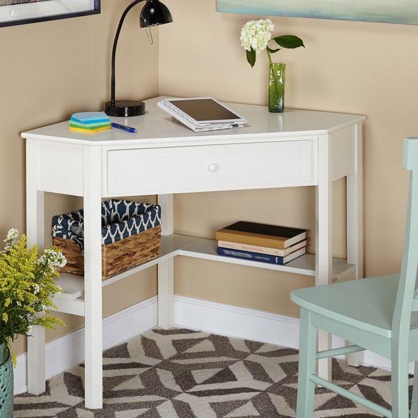 $89 overstock.com Simple Living Antique White Wood Corner Computer Desk