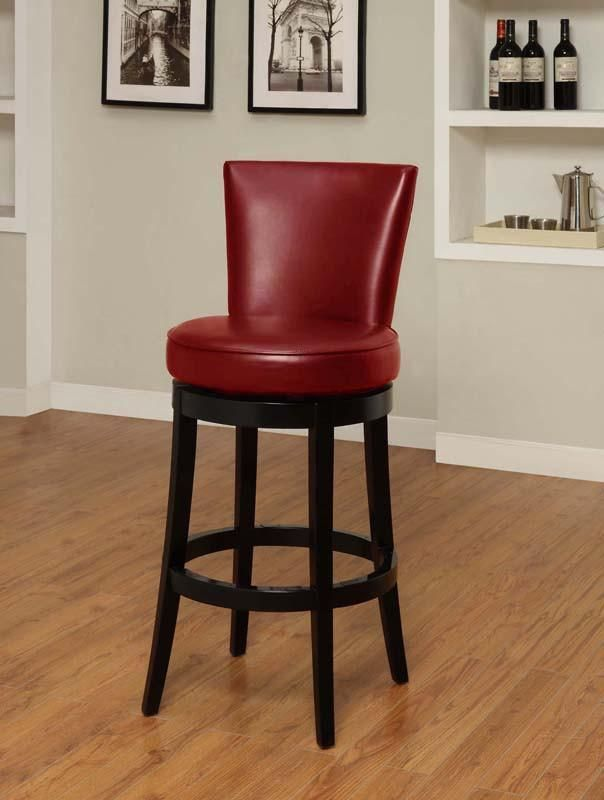 "Armen Living 26"" LC4044BARE26 Boston Swivel Barstool in Red Bicast Leather"