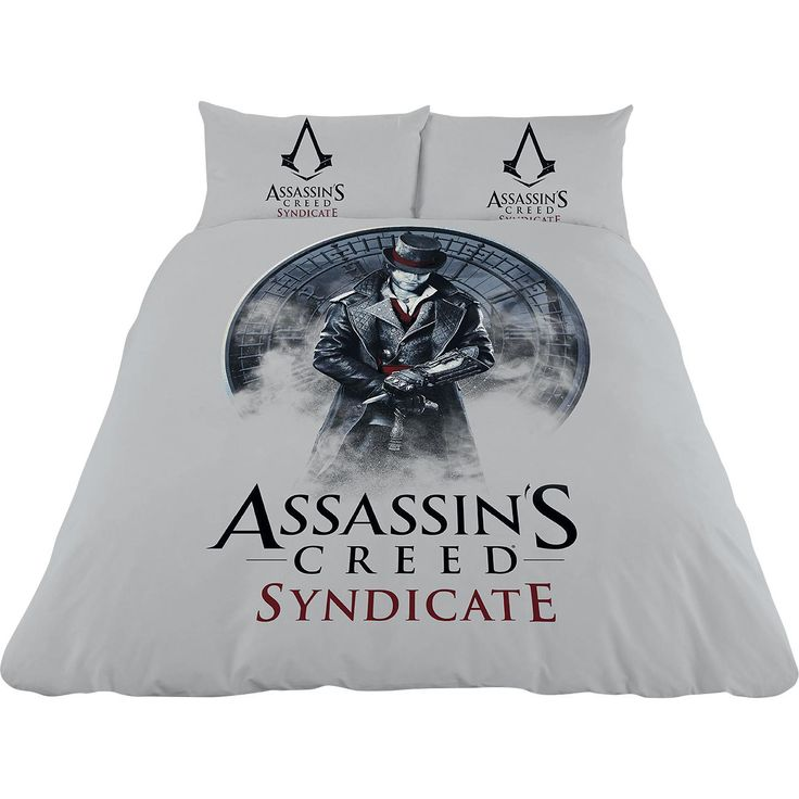 """Set letto matrimoniale reversibile """"Syndicate - Jacob Frye"""" di #AssassinsCreed composto da: copripiumino (200 x 200 cm) e 2 federe cuscino (50 x 75 cm) con bottoni. Materiale: 50% cotone, 50% poliestere."""
