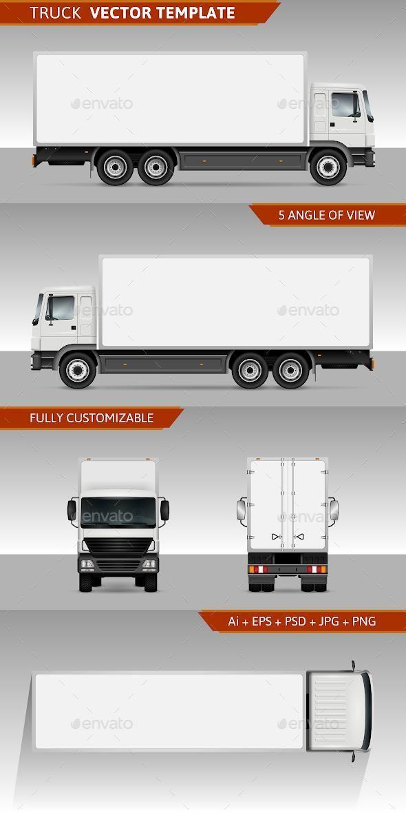Delivery Truck Vector Template Modelo De Carro Desenhos De