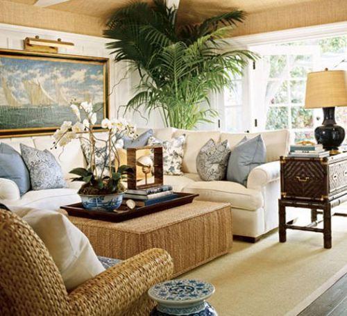 Coastal living room with nautical  and tropical design influences