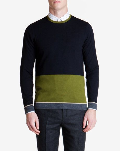 a78be2d2e36151 Ted Baker STELHAM Merino wool color block sweater