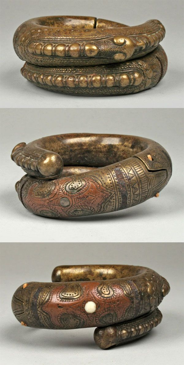 Indonesia ~ Sumatra | Bracelet from the Toba Batak people | Brass and copper | 19th to early 20th century
