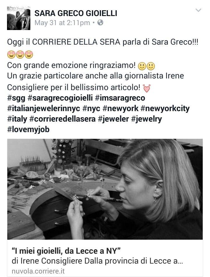 """Il CORRIERE DELLA SERA parla si noi!! Emozione 💓💓💓 """"Ringrazio tutti quelli che mi hanno detto di no. È grazie a loro se ce l'ho fatta da solo."""" Albert Einstein 😊💪💪 Retweeted Ire consigliere (@IreConsigliere): """"I miei gioielli, da Lecce a NY""""  #sgg #saragrecogioielli #imsaragreco #italianjewelerinnyc #nyc #newyork #newyorkcity #diamonddistrict #lovemyjob"""