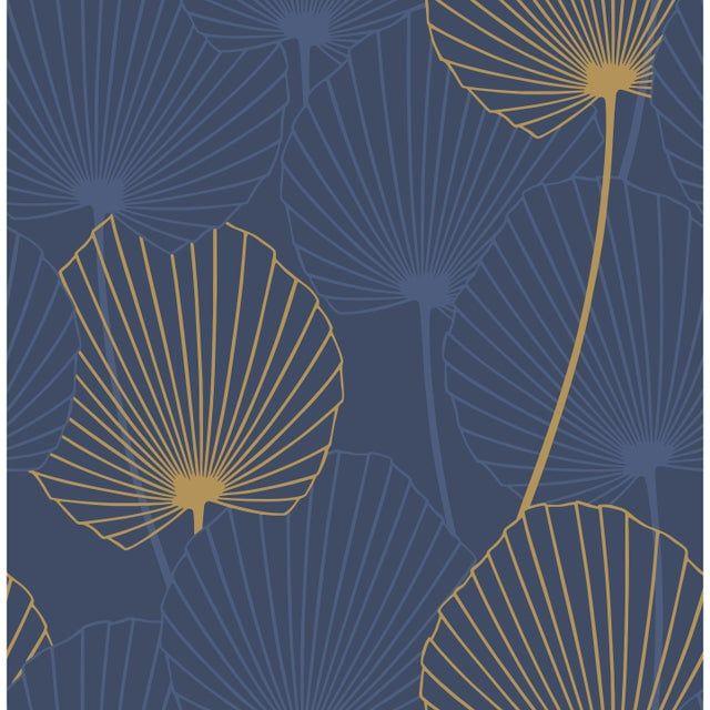 Papier Peint Vinyle Sur Intisse Joy Fleur Bleu Et Or Papier Peint Vinyle Papier Peint Decoration Salon Bleu