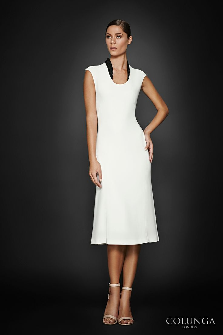 Josephine. Dress of Italian viscose & wool applique collar.