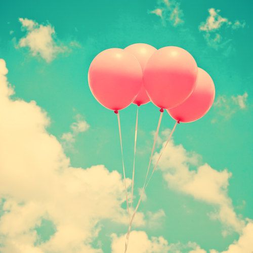Pink Balloons on Sky by Andrekart