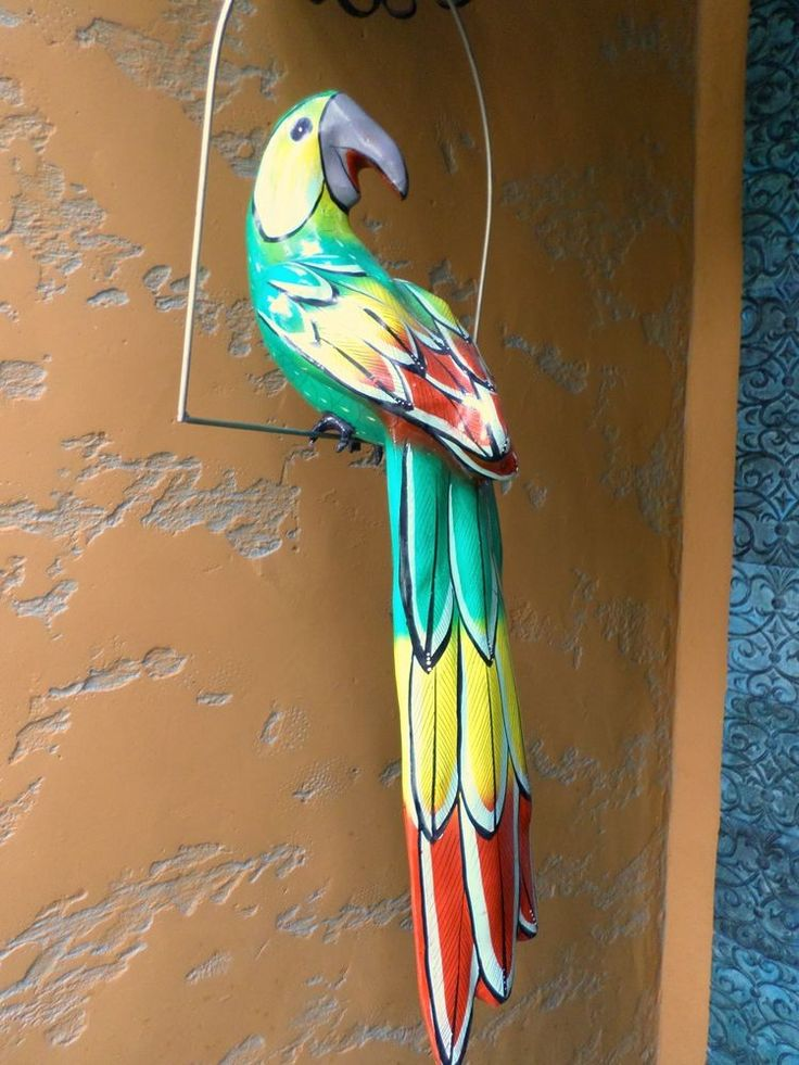 XLarge 28 Mexican Folk Art Paper Mache Green Parrot in Brass Perch  Chic Home Decor