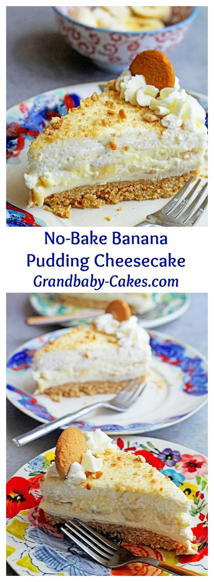 No-Bake Banana Pudding Cheesecake with Banana Cream | Grandbaby-Cakes.com