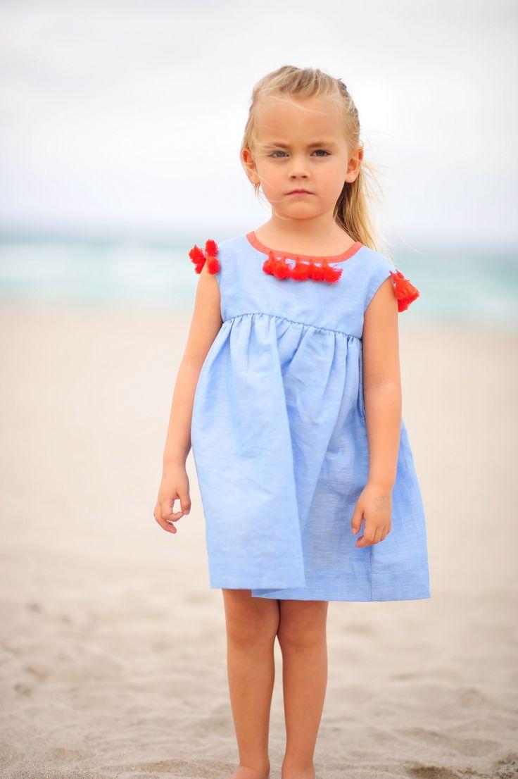 ELLIE GIRLS DRESS WITH HANDMADE TASSELS!  WWW.CREAMCORALCOLLECTION.COM