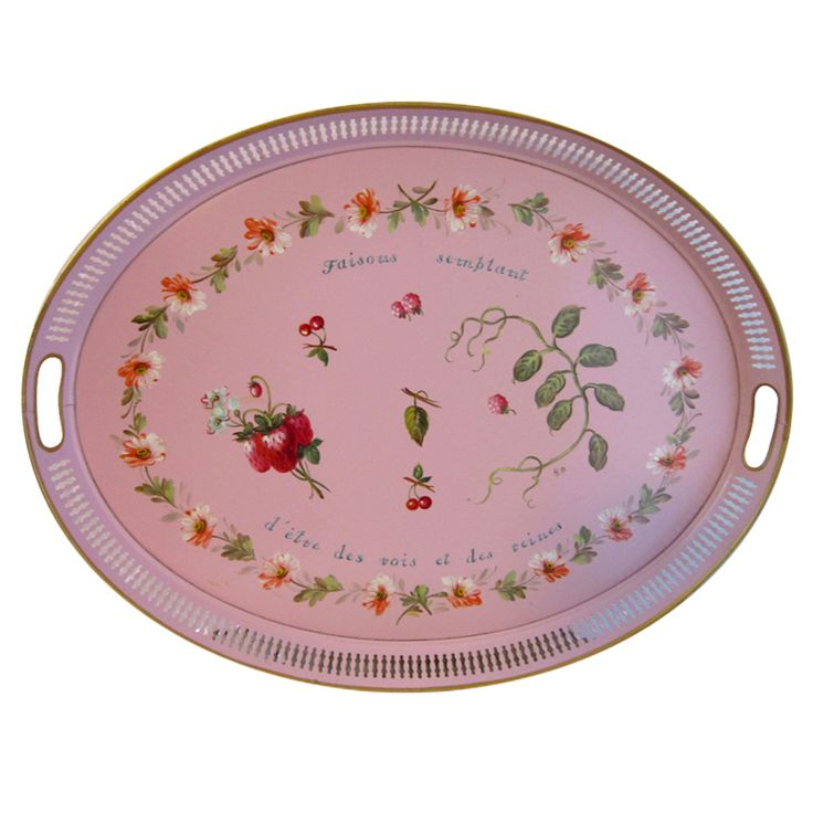 Pink Hand Painted Tole Tray $800.00: Regency Pink, Pink Hands, Painted Trays, Paintings Tole, Hands Paintings, Antique Painted, Fabulous Pink, Antique Vintage Toleware, Paintings Trays