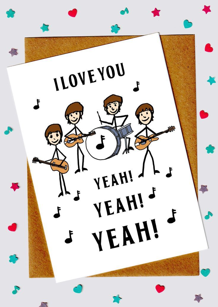 Beatles Card – I Love You Card – Husband Card – Wife Card