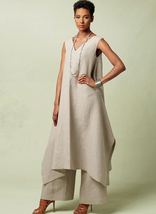 Vogue Pattern by Paco Peralta. V1550 MISSES' PULLOVER TUNIC WITH UNEVEN HEM AND WIDE-LEG PANTS
