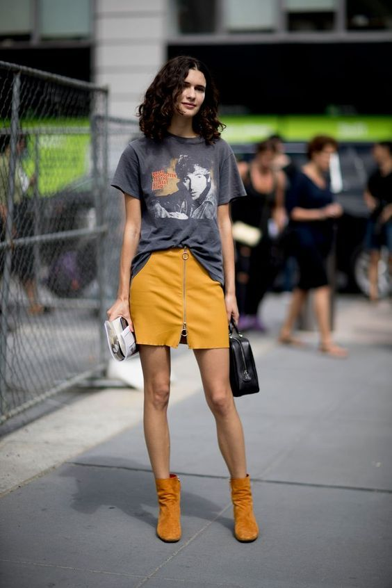 @roressclothes clothing ideas #women fashion yellow mustard skirt, gray  t-shirt