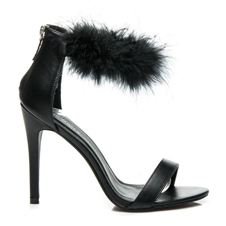Seksowne sandały na szpilce Nelly - czarny