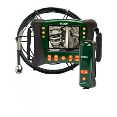 """http://termometer.dk/inspektionskamera-r12842/hd-videoskop-wireless-vvs-kit-med-10m-probe-53-HDV650W-10G-r34646  HD videoskop Wireless VVS kit med 10m Probe  Inkluderer fleksibel glasfiber kerne, 10m vandtæt kamera sonde (spole samling)  25mm kamera hoved (60 ° FOV, lang dybdeskarphed) med indbygget lys 12 lysdioder til belysning af de problematiske områder  Trådløs håndsæt / trasmitter med lysstyrke og strømstyringen  5,7 """"farve LCD TFT med high definition 640 x 480 VGA-pixel..."""