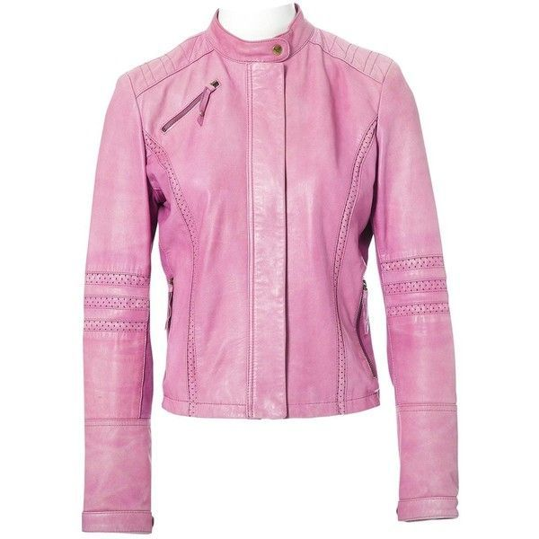 Pre-owned Armani Jeans Leather Jacket ($382) ❤ liked on Polyvore featuring outerwear, jackets, pink, women clothing jackets, pink jacket, pink leather jackets, pink biker jackets, moto jacket and collar jacket