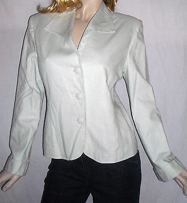 Iris & Ivy Size 10 Linen Cotton Blend Mint Green Blazer With Extra Buttons Nice