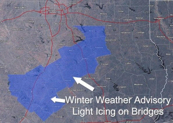 Winter Weather Advisory issued for portions of Central Texas (including Austin) - http://www.texasstormchasers.com/2013/01/14/winter-weather-advisory-issued-for-portions-of-central-texas-including-austin/