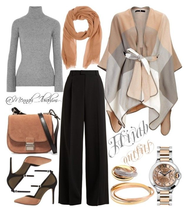 """#Hijab_outfits #modesty #Beig #Grey"" by mennah-ibrahim on Polyvore featuring Autumn Cashmere, RED Valentino, Reiss, Proenza Schouler and Cartier"