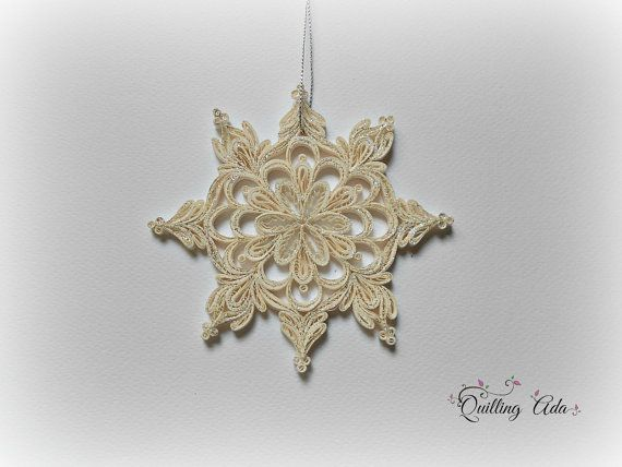 """Quilled snowflake-Christmas ornament- 12/12cm 4.72"""" €13.86 Silver glitter on both sides"""