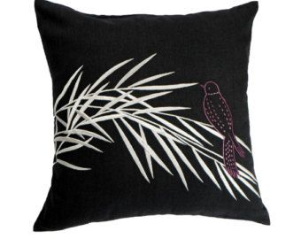 Bird Throw Pillow Cover Brown Striped Linen Pillow by KainKain