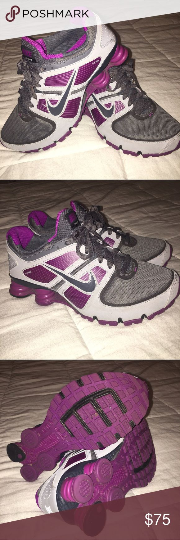New Nike shocks - purple/gray - size 7 New Nike shocks, worn once. They were a gift and I'm honestly not a huge fan of purple. They are awesome shoes with the Nike+ capabilities •No Trades•  •Offers Welcomed•  •No Lowballing• Nike Shoes Athletic Shoes