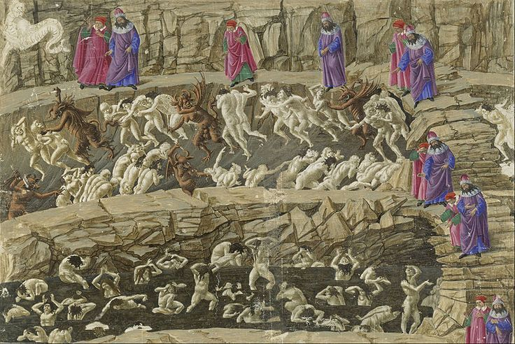 A #Botticelli drawing for The Divine Comedy, Inferno by #Dante.