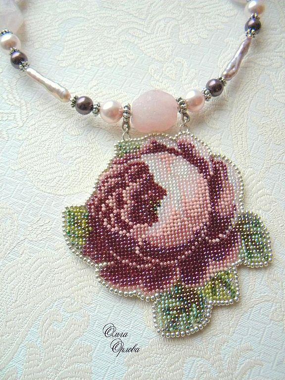 Beaded Cabbage Rose necklace - Колье, бусы ручной работы. Ярмарка Мастеров - ручная работа Нежная роза. Handmade.